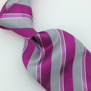 Burberry London Italy Tie Hot Pink Silver Striped